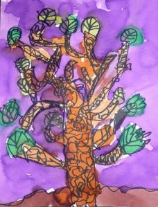 somber tree purple sky